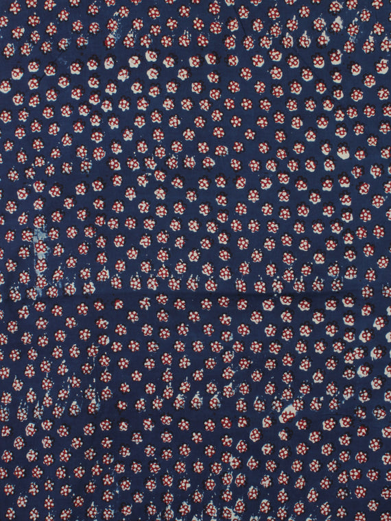 Indigo Ivory Red Ajrakh Hand Block Printed Cotton Fabric Per Meter - F003F2121