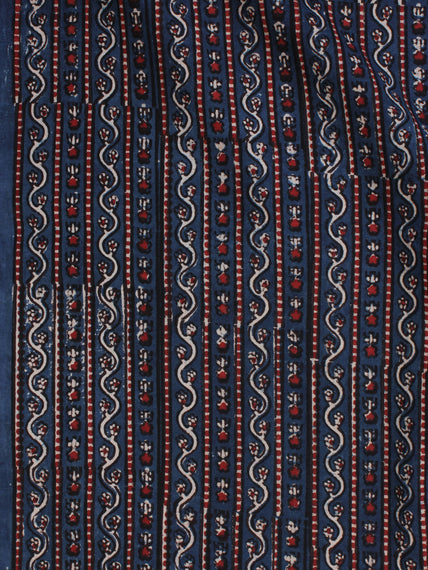 Indigo Ivory Red Ajrakh Hand Block Printed Cotton Fabric Per Meter - F003F2124