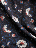 Black Brown Ivory Red Hand Block Printed Cotton Fabric Per Meter - F001F1401