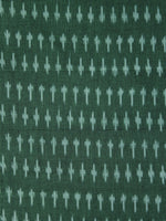 Dark Green  Pochampally Hand Weaved Ikat Mercerised Fabric Per Meter - F003F1281