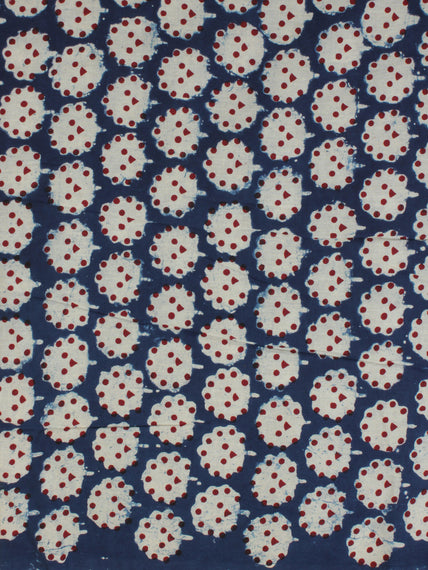 Indigo Ivory Red Ajrakh Hand Block Printed Cotton Fabric Per Meter - F003F2126