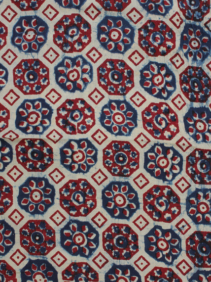 Ivory Indigo Red Ajrakh Hand Block Printed Cotton Fabric Per Meter - F003F2125