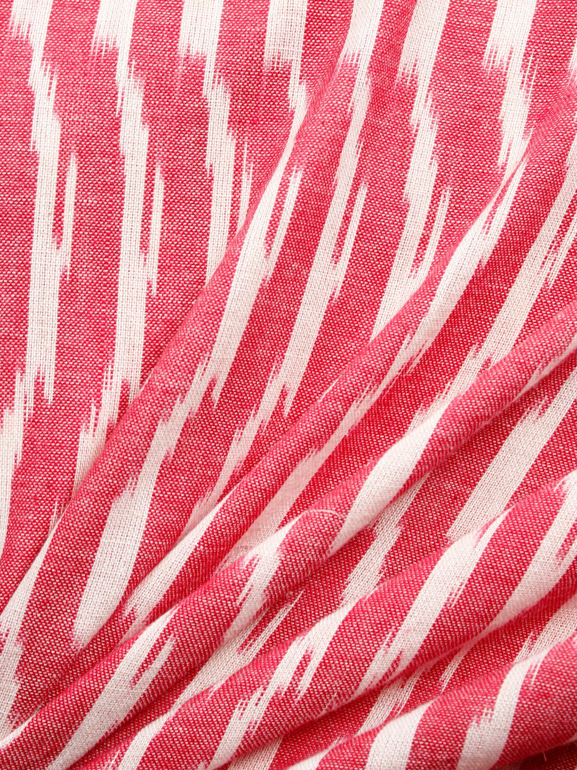 Coral Red Ivory Hand Woven Ikat Handloom Cotton Fabric Per Meter - F002F1476
