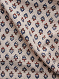 Beige Blue Maroon Ajrakh Hand Block Printed Cotton Blouse Fabric - BPA098