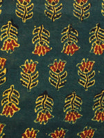 Hunter Green Yellow Red Black Ajrakh Hand Block Printed Cotton Fabric Per Meter - F003F1653