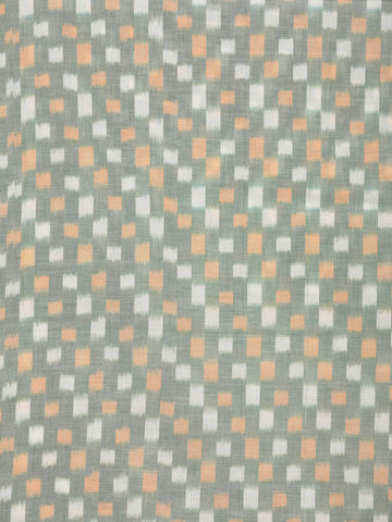 Green Orange White Pochampally Hand Weaved Ikat Mercerised Cotton Fabric Per Meter - F002F1742