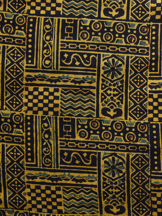 Yellow Black Ajrakh Hand Block Printed Cotton Blouse Fabric - BPA008