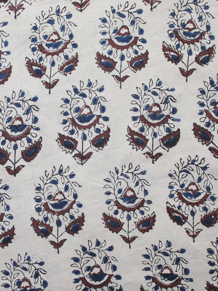Beige Indigo Brown Black Hand Block Printed Cotton Fabric Per Meter - F001F1338