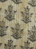 Beige Ivory Green Hand Block Printed Cotton Fabric Per Meter - F001F900