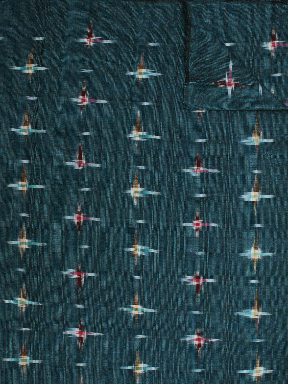 Turquoise Maroon Mustard Ivory Pochampally Hand Weaved Double Ikat Fabric Per Meter - F002F801
