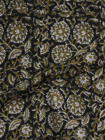 Black Ivory Olive Green Hand Block Printed Cotton Fabric Per Meter - F001F580