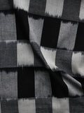 Black Grey Ivory Pochampally Hand Woven Double Ikat Fabric Per Meter - F002F928