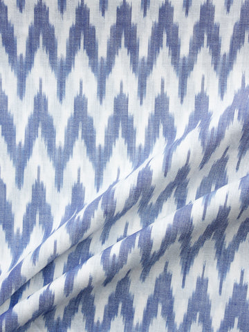 White Steel Blue Hand Weaved Ikat Mercerised  Fabric Per Meter - F002F1409