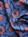 Black Blue Red  Hand Block Printed Cotton Fabric Per Meter - F003F1220