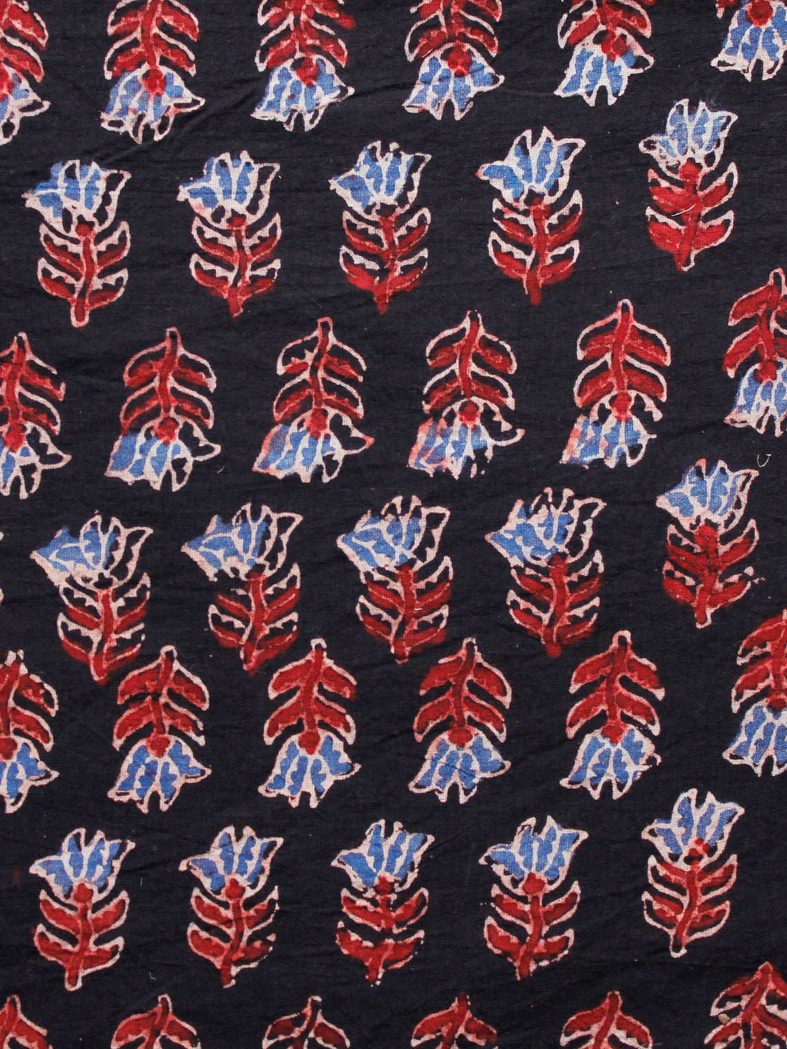 Black Blue Maroon Ivory Ajrakh Hand Block Printed Cotton Fabric Per Meter - F003F1654