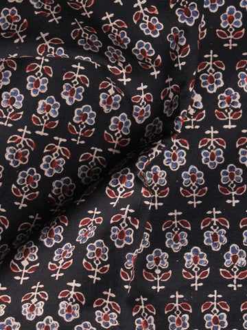 Black Blue Maroon Ajrakh Hand Block Printed Cotton Blouse Fabric - BPA0103