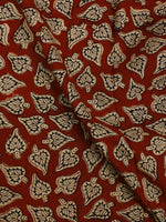 Red Beige Hand Block Printed Cotton Cambric Fabric Per Meter - F0916383