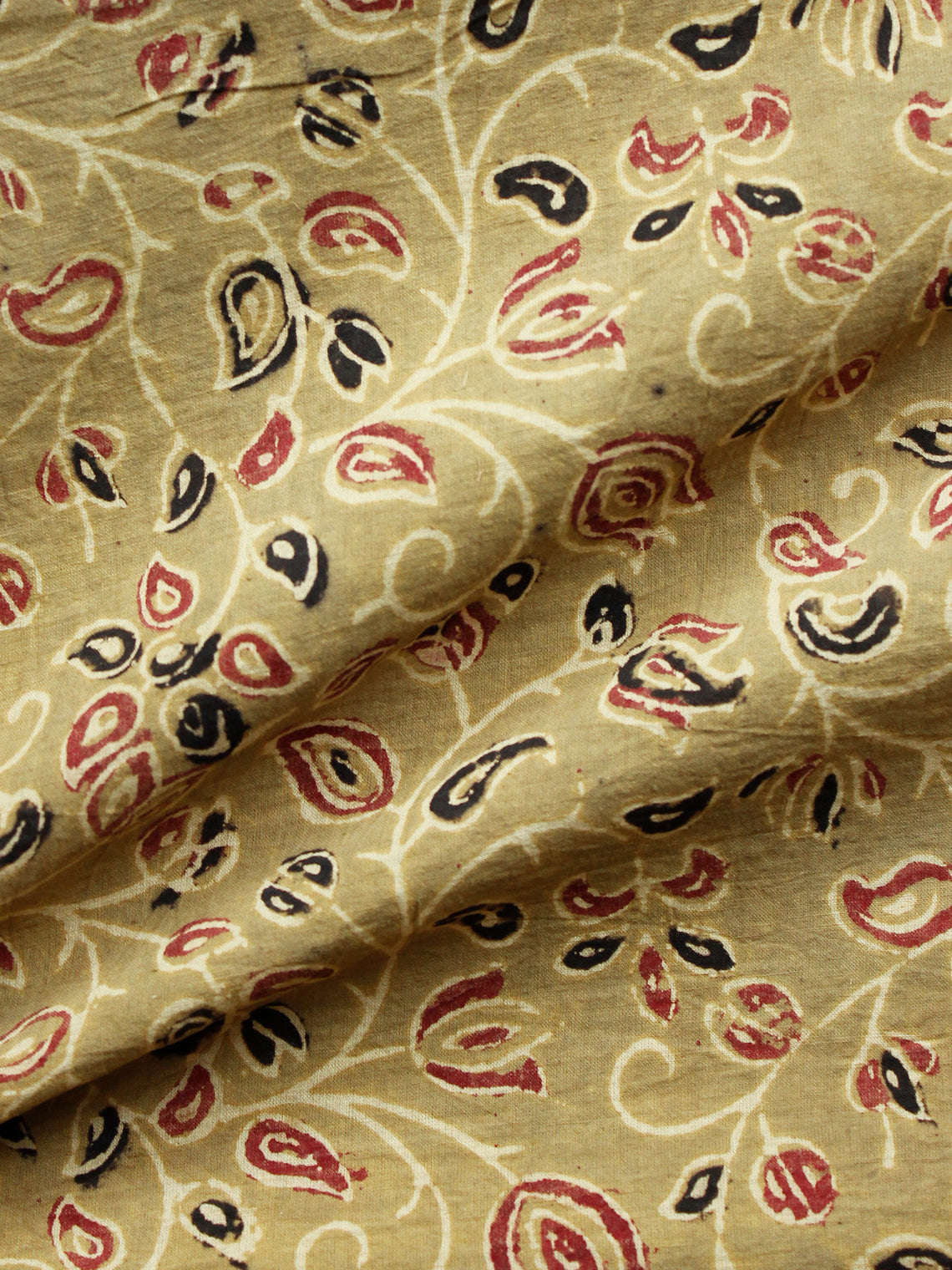 Light OliveGreen Wine Red Black Ajrakh Hand Block Printed Cotton Fabric Per Meter - F003F1661