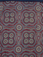 Maroon Green Ivory Blue Ajrakh Block Printed Cotton Fabric Per Meter - F0916681