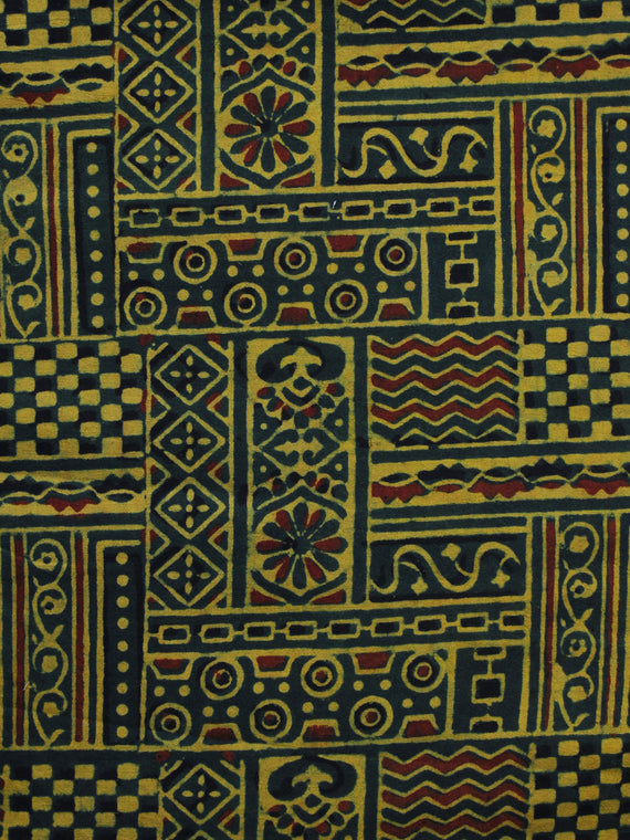 Green Yellow Maroon Ajrakh Hand Block Printed Cotton Blouse Fabric - BPA009