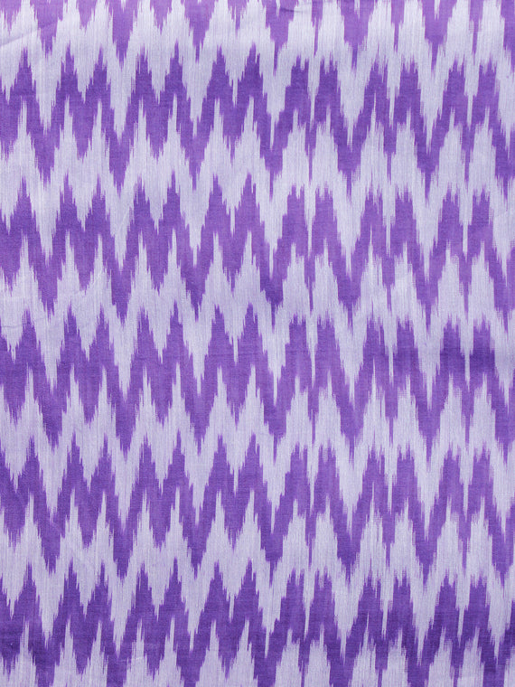 Purple Ivory Pochampally Hand Weaved Ikat Mercerised  Fabric Per Meter - F002F1410