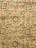 Light Olive Green Red Black Ajrakh Hand Block Printed Cotton Fabric Per Meter - F003F1583