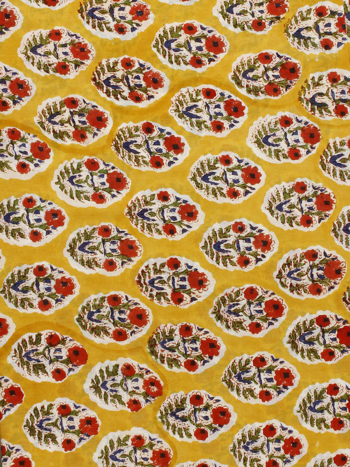 Yellow Red Green Ivory Hand Block Printed Cotton Fabric Per Meter - F001F776