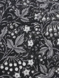 Black Grey White Hand Block Printed Cotton Fabric Per Meter - F003F1324