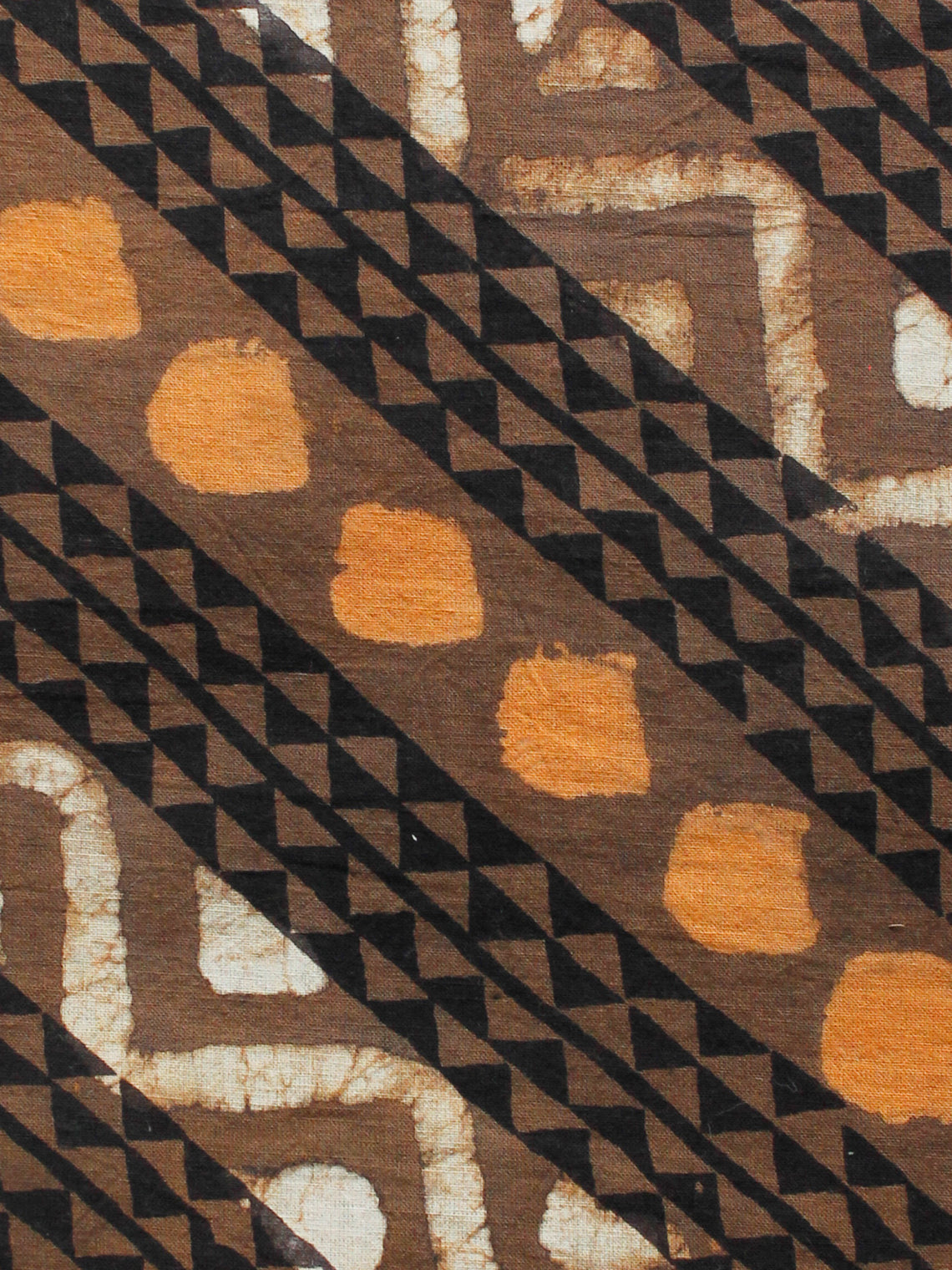 Kashish Brown Mustard Ivory Black Hand Block Printed Cotton Fabric Per Meter - F001F1725