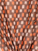 Rust Orange Ivory Pochampally Hand Weaved Ikat Mercerised Cotton Fabric Per Meter - F002F1743