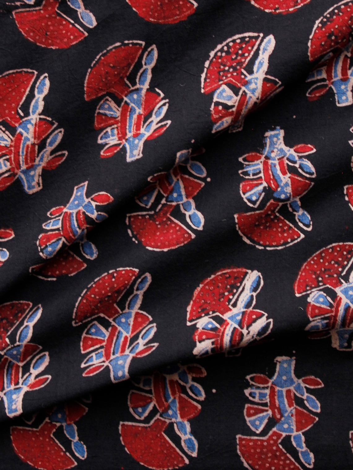 Black Red Blue Ivory Ajrakh Hand Block Printed Cotton Fabric Per Meter - F003F1665