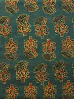 Green Yellow Maroon Black Ajrakh Hand Block Printed Cotton Fabric Per Meter - F003F1667