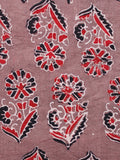 Light Brown Red Black Ivory Ajrakh Hand Block Printed Cotton Fabric Per Meter - F003F1670