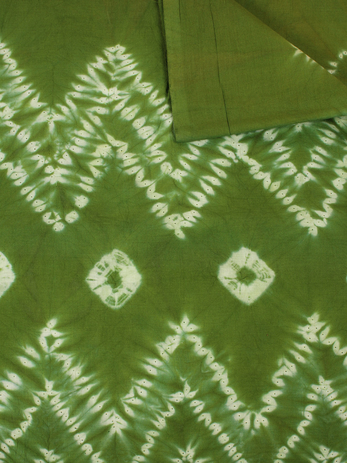 Green Ivory Hand Shibori Dyed Cotton Fabric Per Meter - F0916268