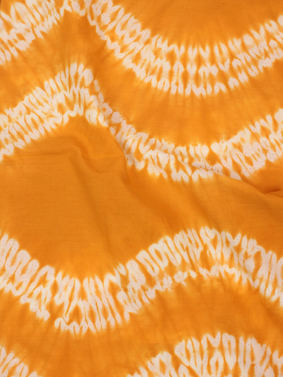 Mustard Yellow White Hand Shibori Dyed Cotton Fabric Per Meter - F0916271