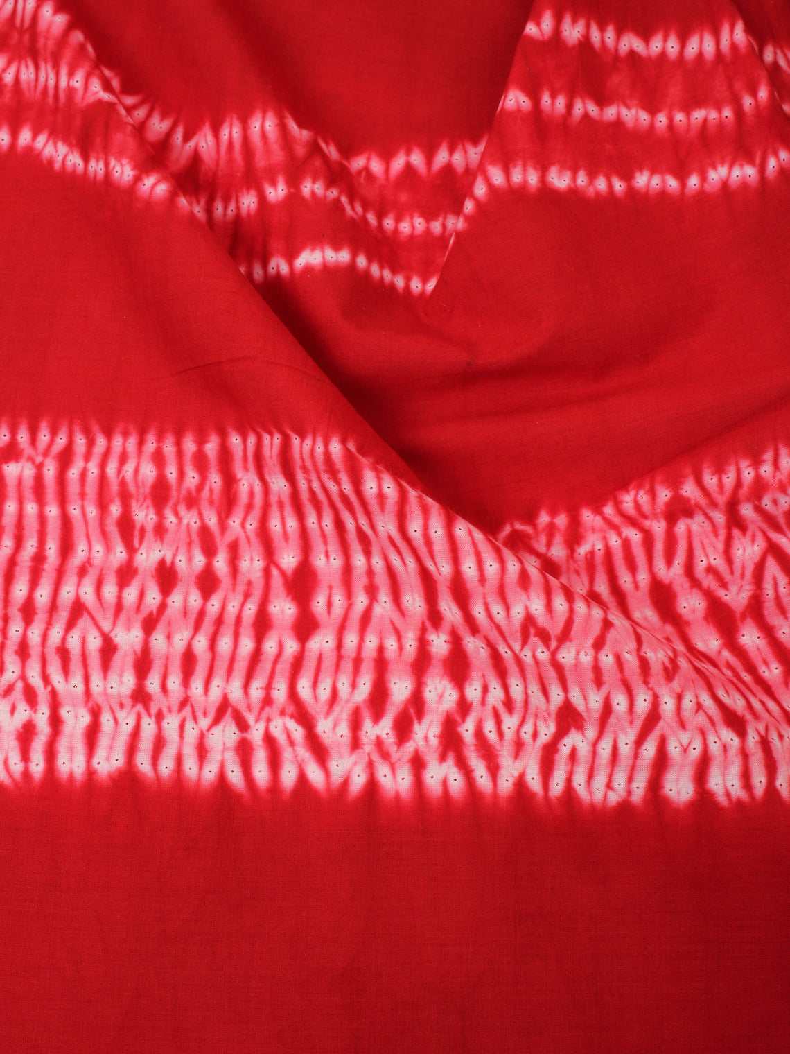 Red Ivory Hand Shibori Dyed Cotton Fabric Per Meter - F0916275