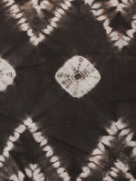 Grey White Hand Shibori Dyed Cotton Fabric Per Meter - F0916279