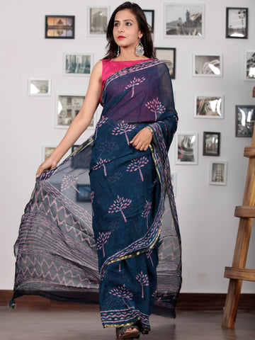 Indigo Purple Hand Block Printed Chiffon Saree with Zari Border - S031702762