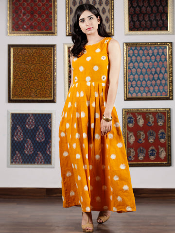 Mustard Ivory Long Sleeveless Handwoven Double Ikat Dress With Knife Pleats & Side Pockets - D32F1458