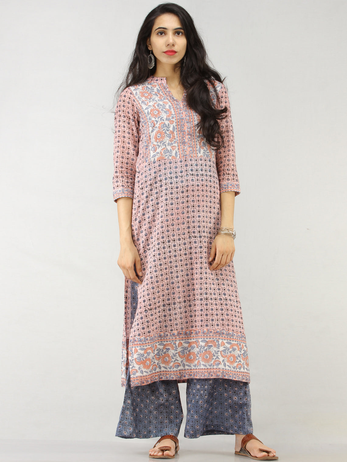 Rangrez Faghir - Set of Straight Kurta Palazzo & Dupatta - KS60A2179D