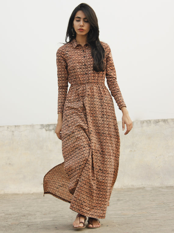 Black Maroon Beige Orange Long Hand Block Cotton Dress With Elasticated Waist And Side Slit  - D147F1075