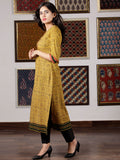 Mustard Green Black Orange Ajrakh Hand Block Printed Kurta in Natural Colors - K104F1524