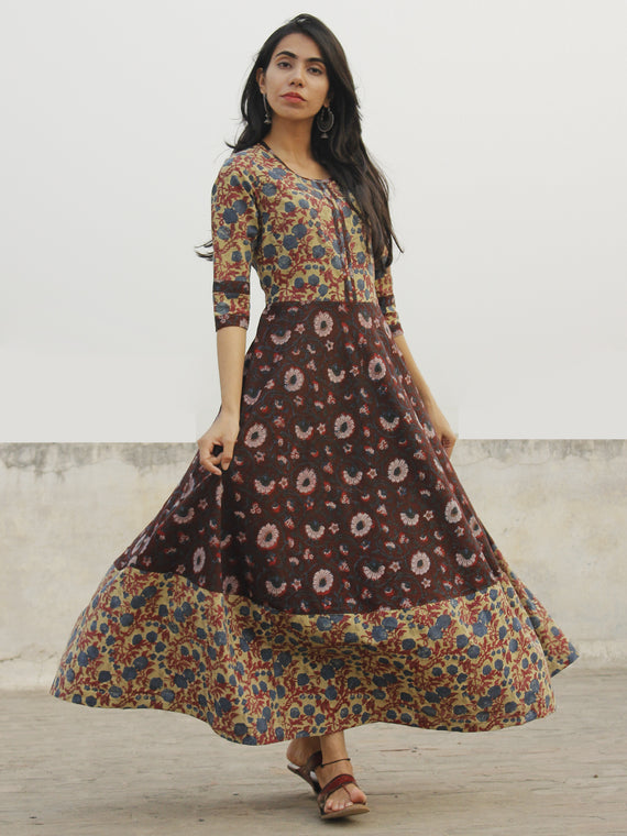 Dusty Green Maroon Indigo Ivory Black Hand Block Long Cotton Dress  - D150F1095