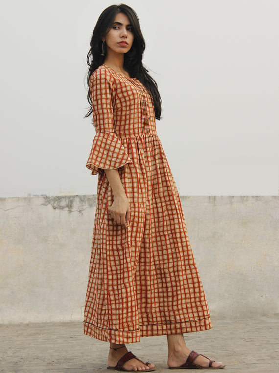 Brick Red Ivory Brown Hand Block Long Cotton Dress With Bell Sleeves  - D151F1094