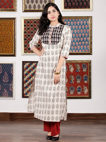 Ivory Black Rust Bagh Printed Kurta in Natural Colors - K105F1696