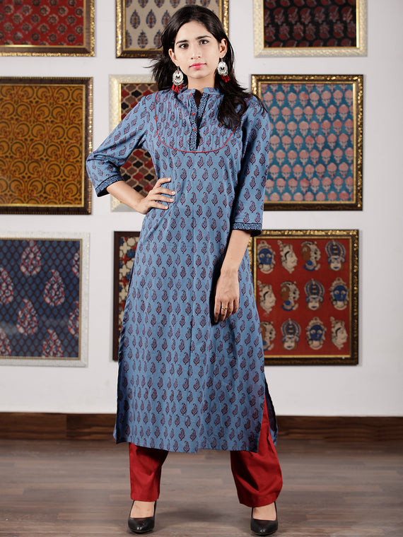 Blue Maroon Black Bagh Printed Kurta in Natural Colors - K105F1693