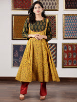 Mustard Green Red Black Ajrakh Hand Block Printed Kurta in Natural Colors - K109F1650