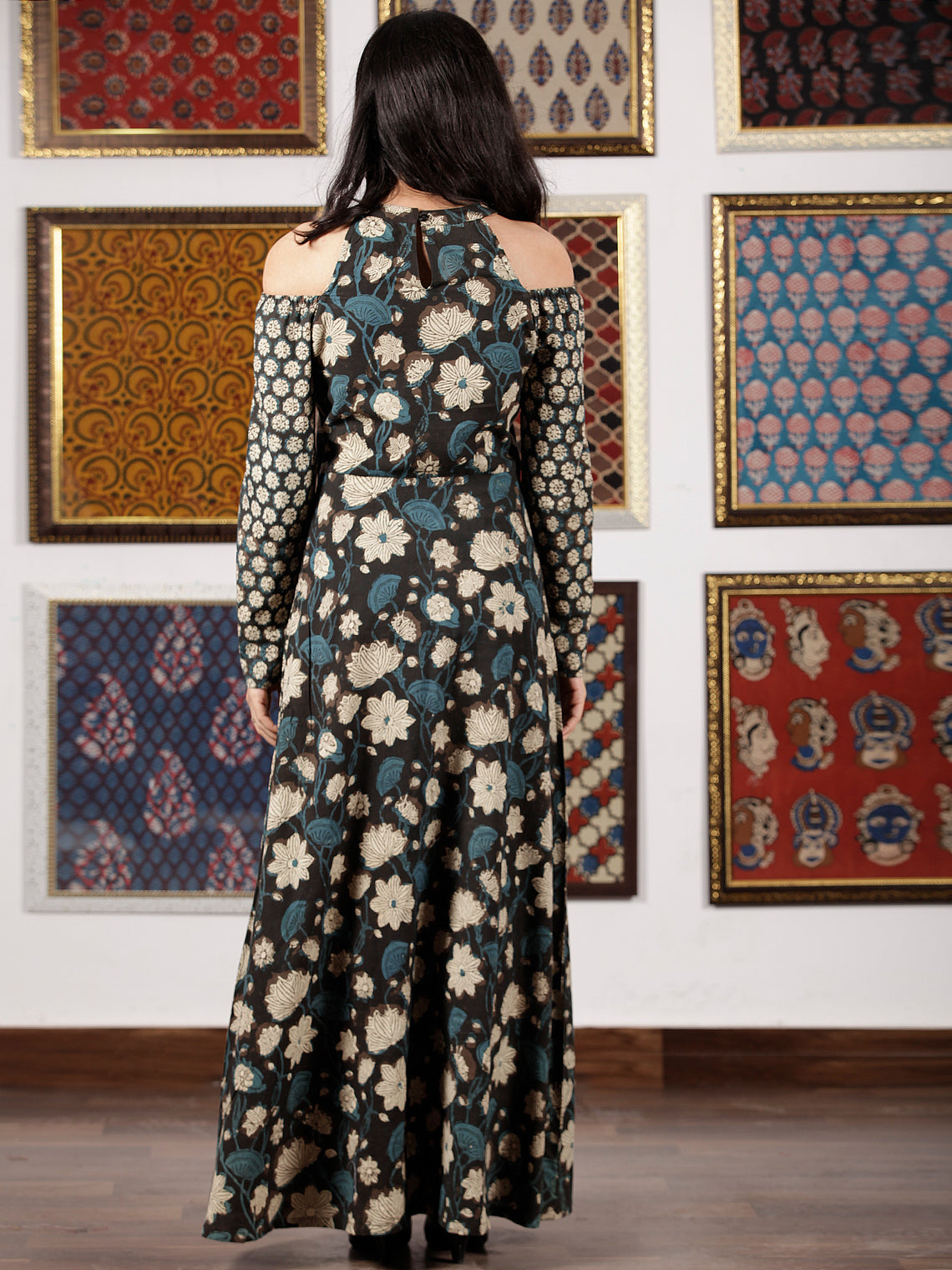 Black Indigo Beige Hand Block Printed Cotton Long Dress With Cold Shoulders  - D307F1365