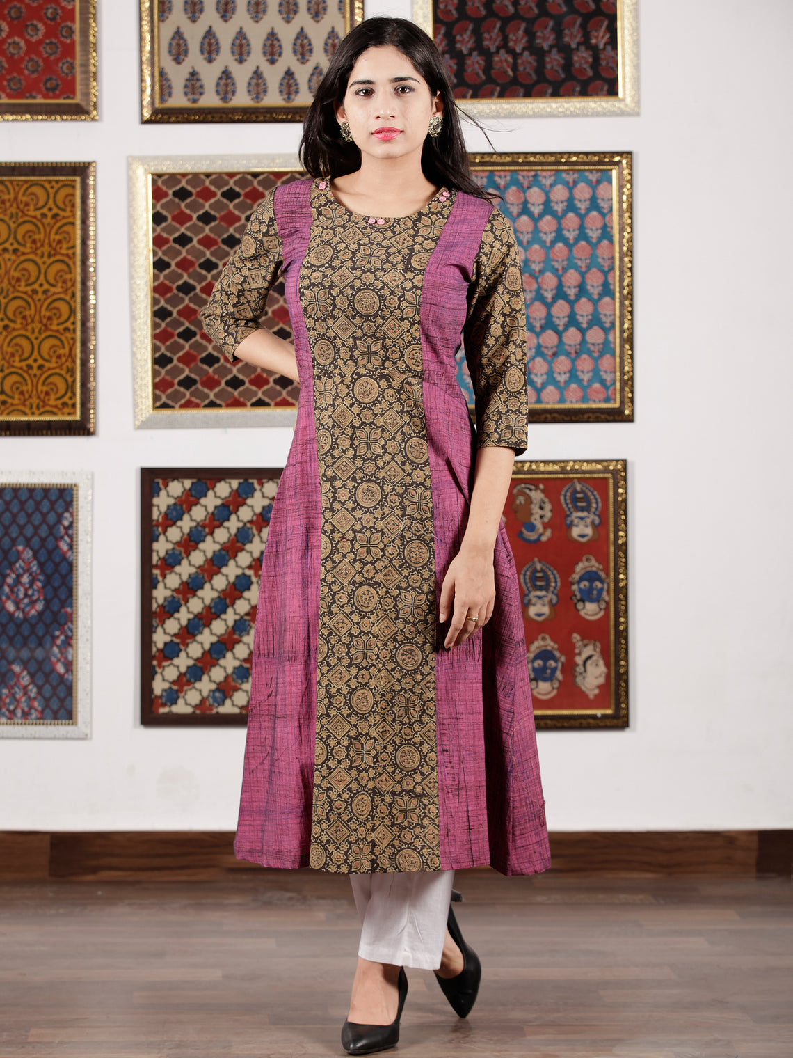 Purple Beige Black Ajrakh Hand Block Printed Kurta in Natural Colors - K112F1523