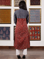 Indigo Maroon Beige Black Ajrakh Hand Block Printed Kurta in Natural Colors - K114F1525